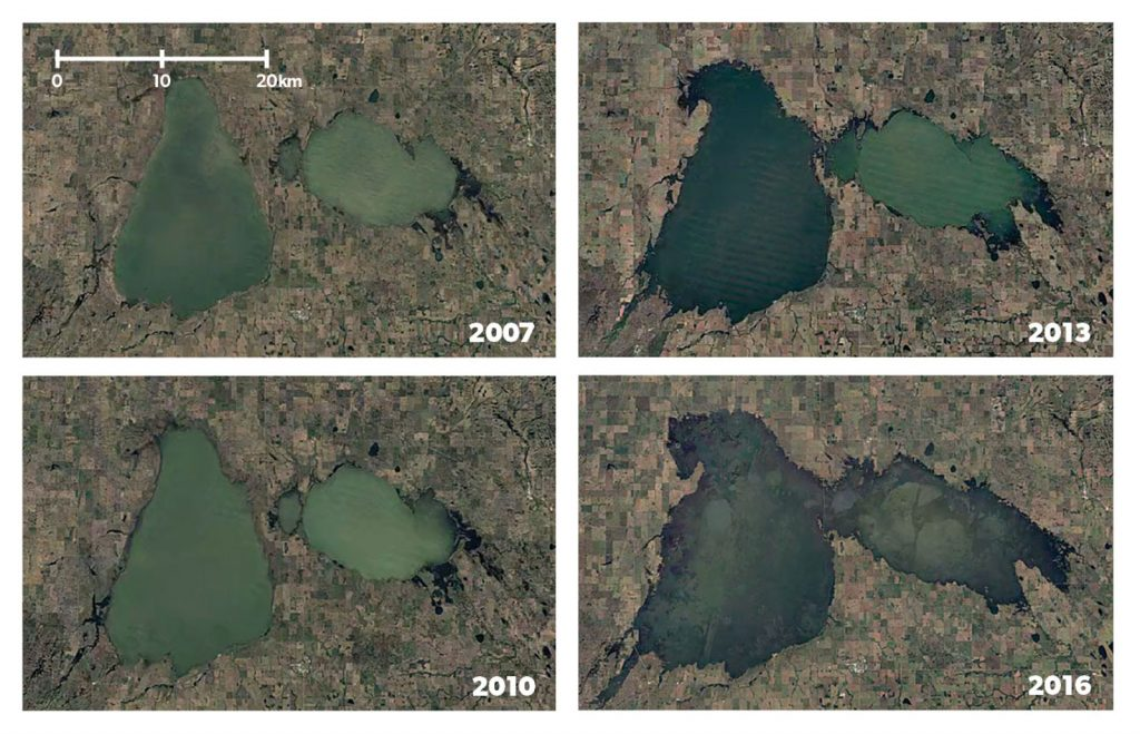 satellite images of Quill Lakes