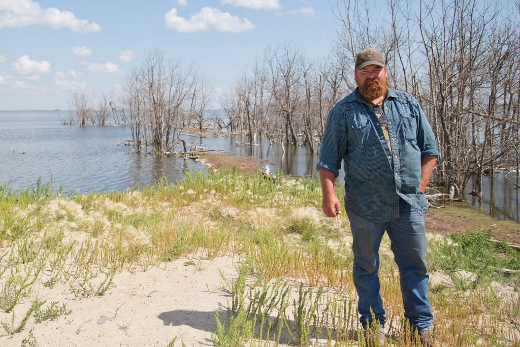 Farmer and flooding at Quill Lakes