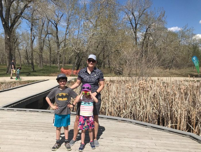 Kate Lagasse with her mom Jodi and brother Luke at DUC's interpretive wetlands near Bow Habitat Station.