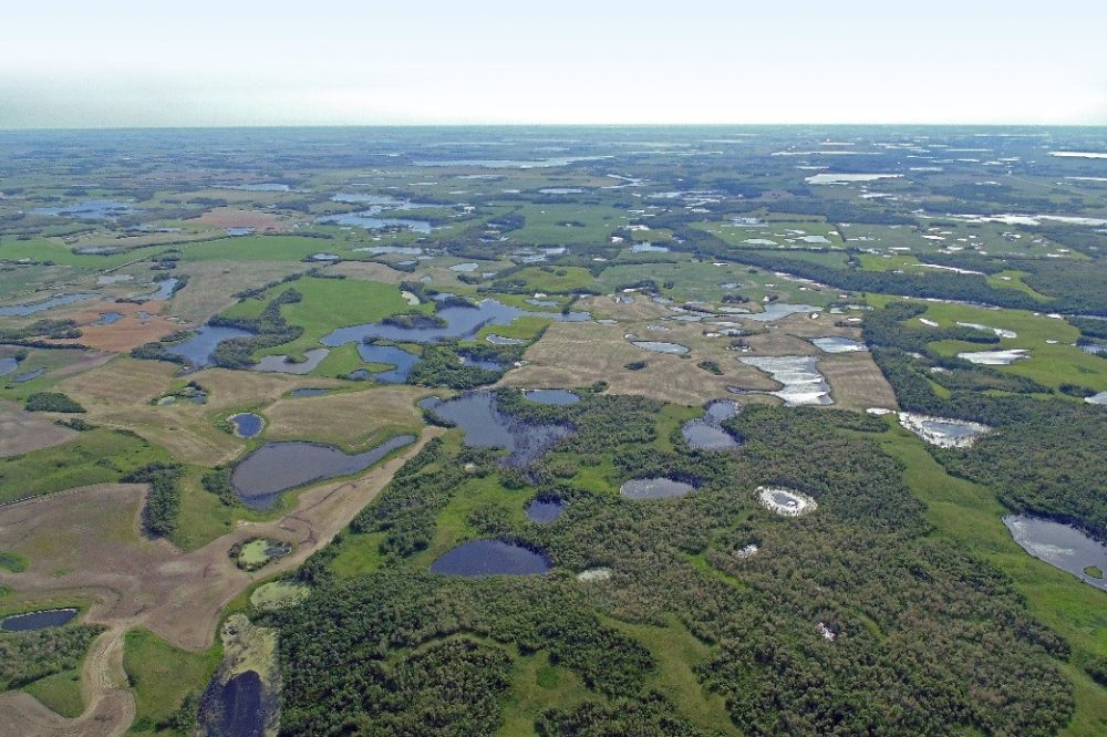 Aerial view of prairie pothole wetlands in Saskatchewan. These potholes, also scattered across Alberta and Manitoba, support up to 75 per cent of North America's breeding ducks. The new research will help inform DUC's future conservation decisions and plans in this critical region.