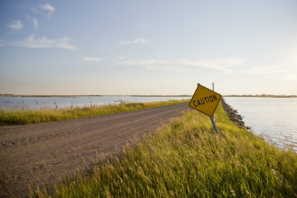 Floodwaters near the Quill Lakes.