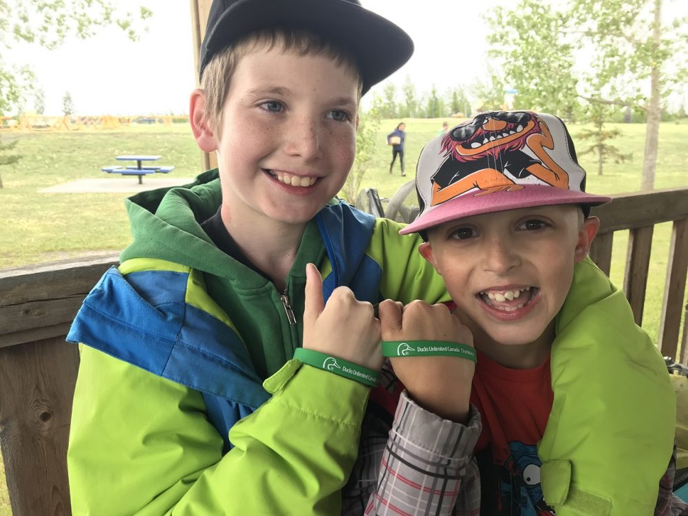 Grade Five students at DUC's Wetland Discovery Days at the John E. Poole Interpretive Wetland located near Edmonton, Alta.