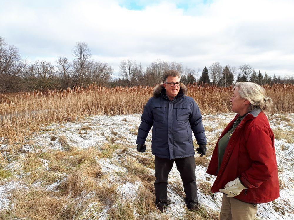 Kathryn Clark and DUC's Bill Jones toured the winter wetland.