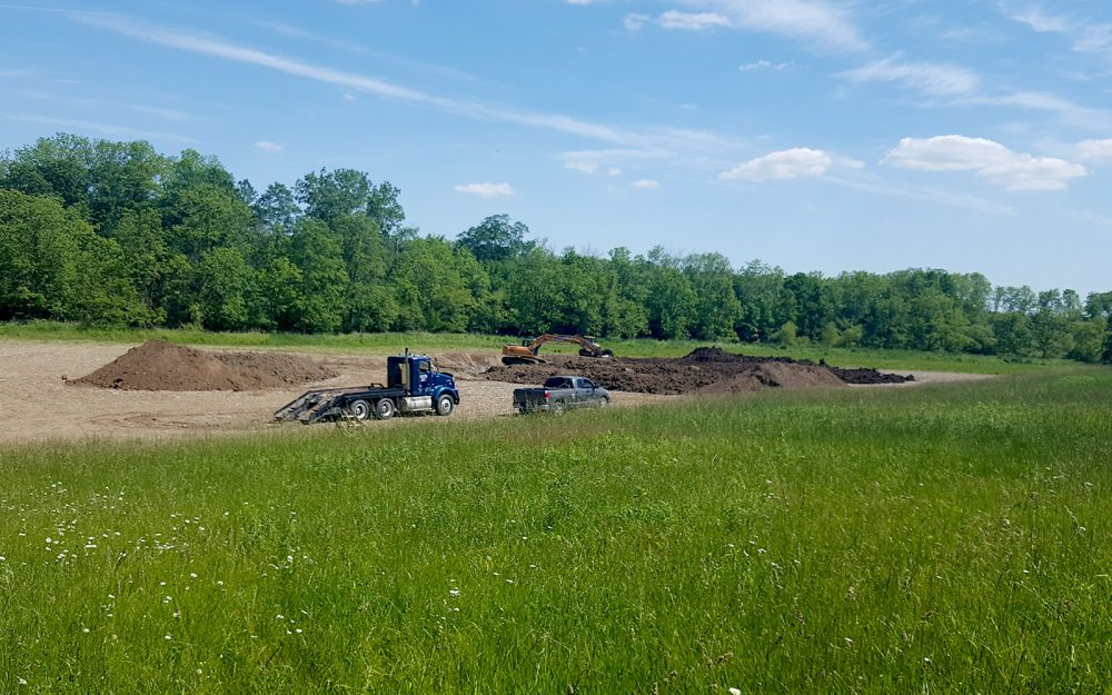 In summer 2017, restoration work was well underway at this small wetland project located on a 270-acre agricultural property along the Thames River in the County of Middlesex.
