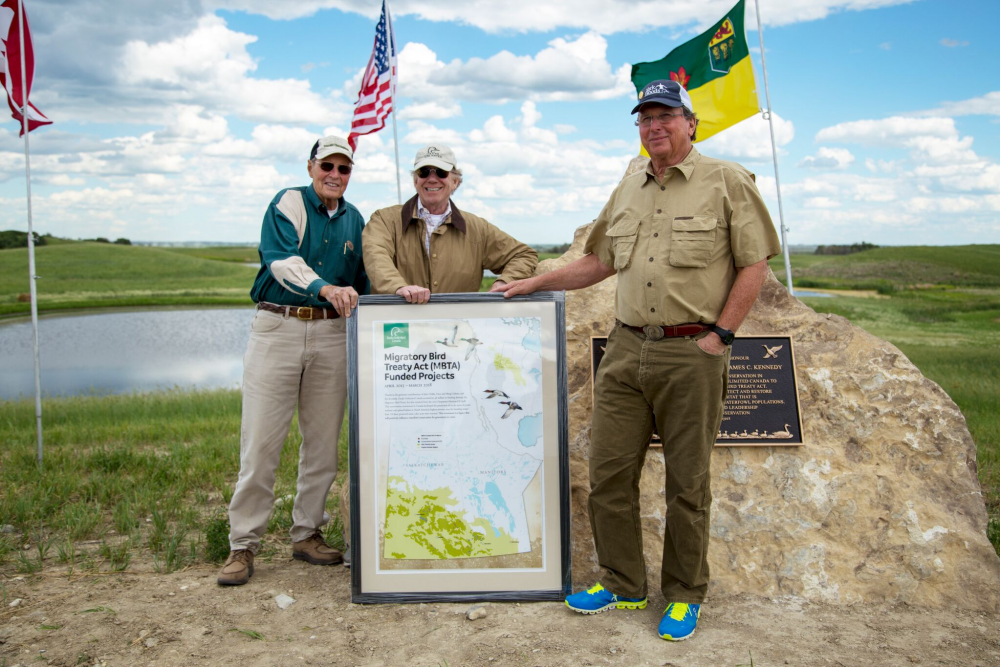 Dave Grohne, John Childs and Jim Kennedy provided critical matching funds so DUC could access $15.48 million through the Migratory Bird Treaty Act.