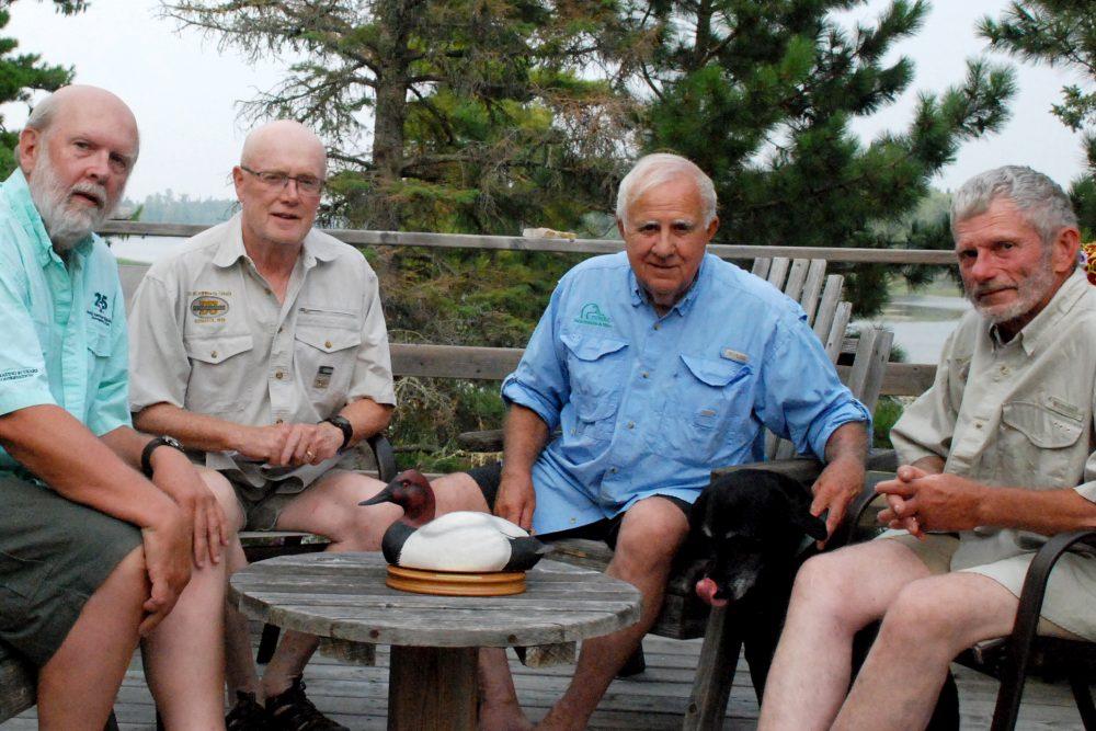 Celebrating Bruce Batt's award and 45 years of friendship: (l-r) Michael Anderson, PhD, Henry Murkin, PhD, Bruce Batt, PhD, Pat Caldwell, PhD.