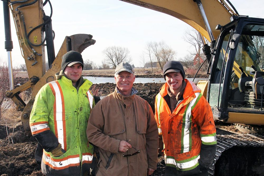 Phil Holst (centre) is pictured with Watts Excavating operators Chad Hill (left) and Nick Sweazey (right). Thanks to the training he received on our project, Chad is also encouraging a third DUC project on our farm. Company owner Steve Watts entered into an additional DUC agreement for his Sweaburg-area property, also in Oxford County.