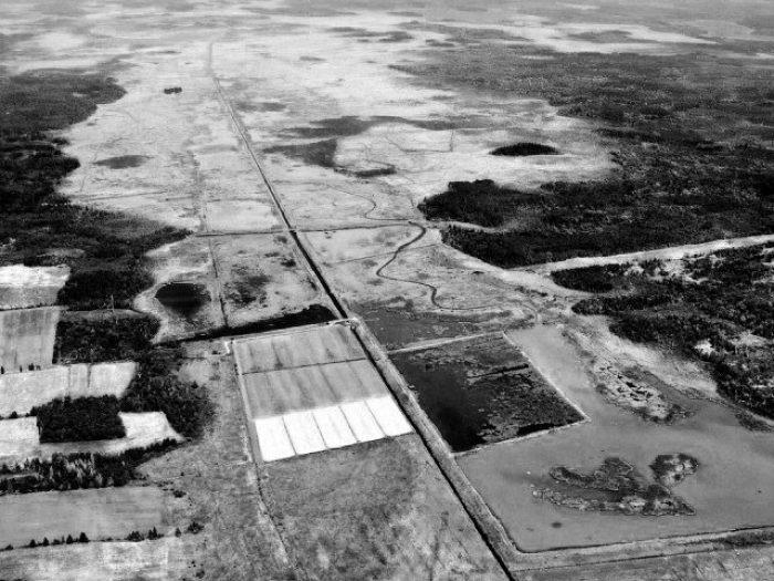An aerial photo of Missaquash Marsh