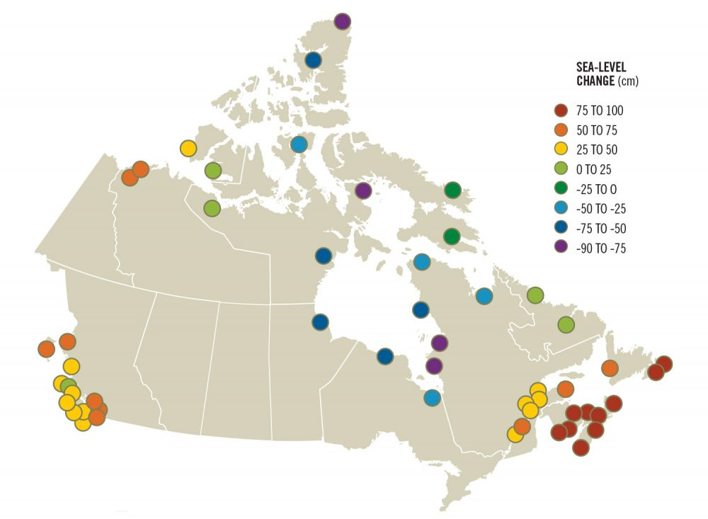 If carbon emissions remain the same, by 2100 sea-level rise will have a major impact in all coastal regions of Canada.