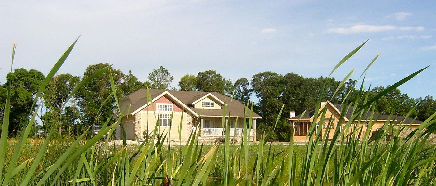 Houses and wetland