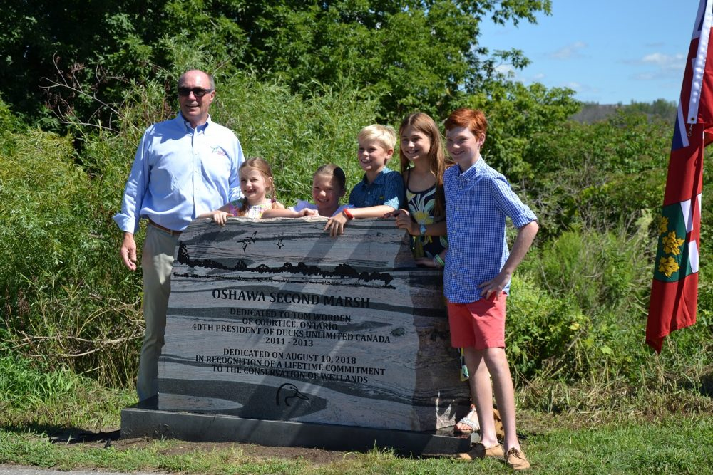 Tom Worden and his grandchildren at Oshawa Second Marsh.