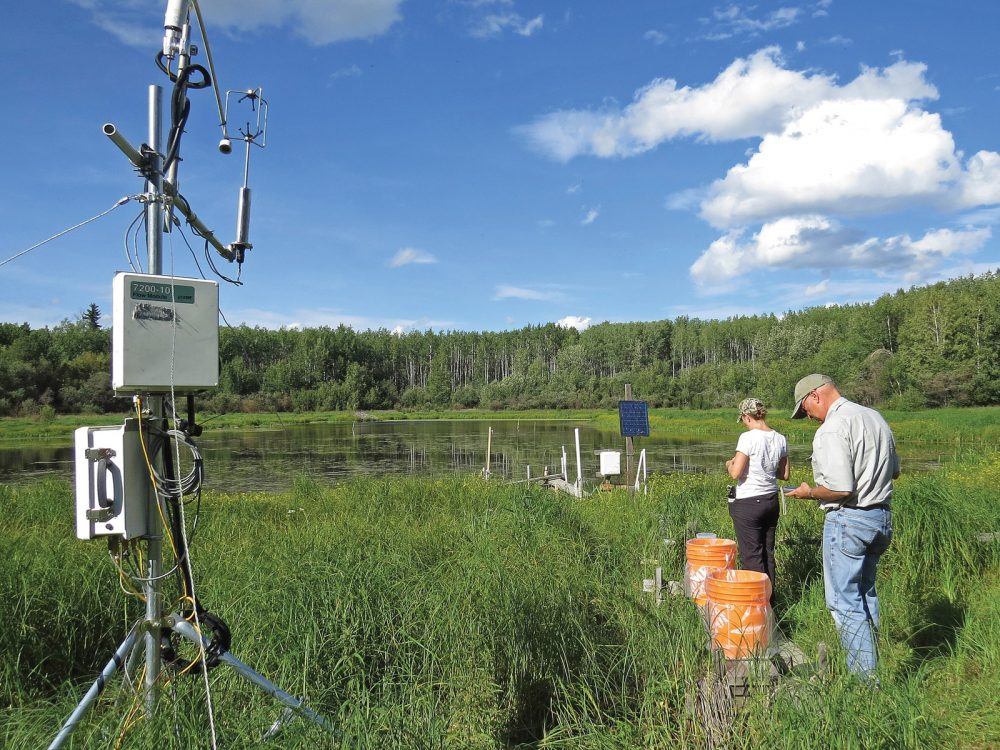 Researchers use an eddy covariance system.