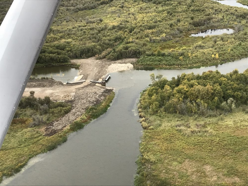 Aerial photo of the South Reader Outlet dam near The Pas.