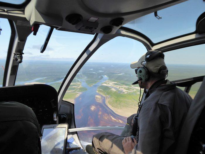Flying in to Akimiski Island.