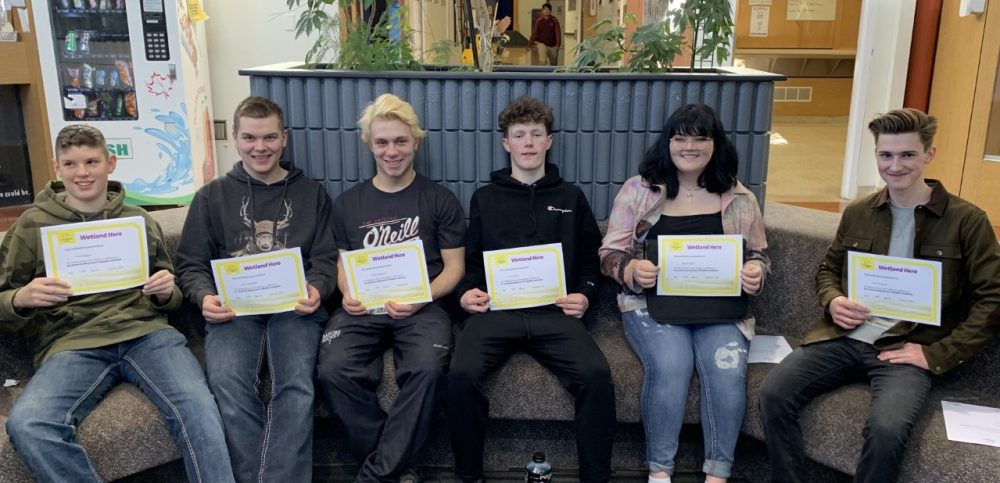 Grade 11 students from Maidstone High School in Maidstone, Sask. receive their Wetland Hero certificates on March 3, 2020. From left to right; Cash Boggust, Kane Staughton, Chantz Legaarden, Trey Nelson, Emma White and Max Prygunov.