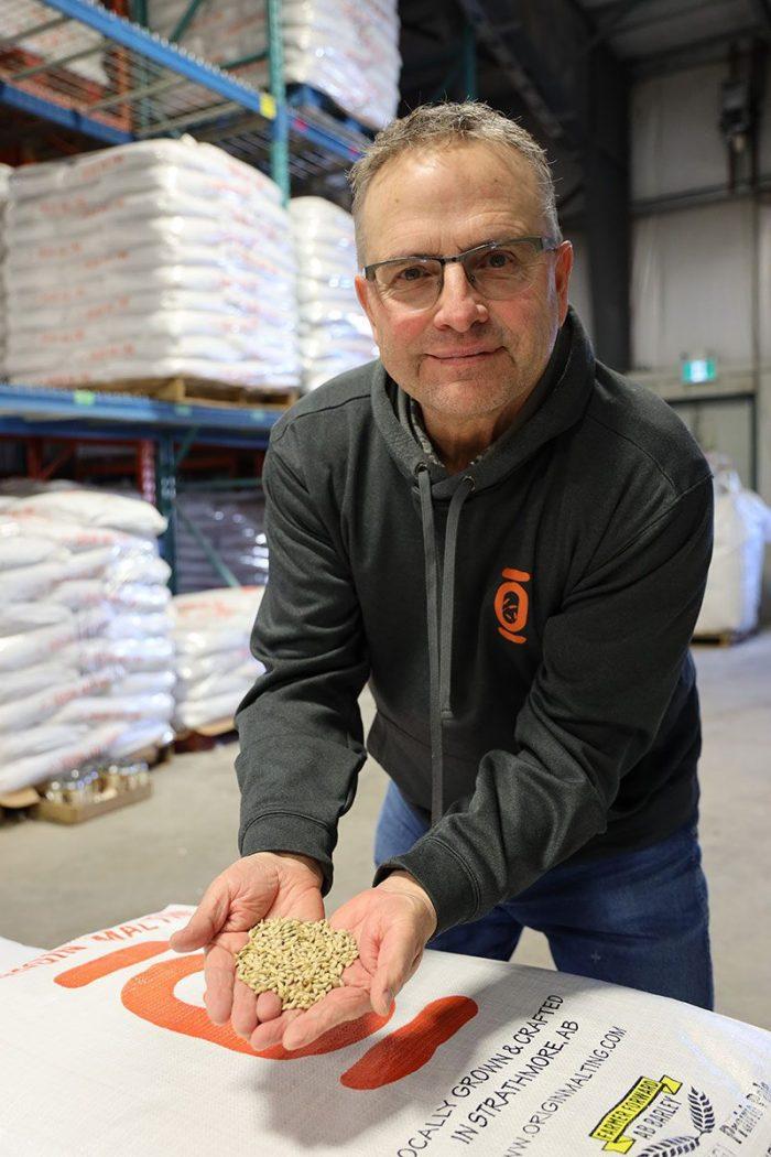 Spencer showing off barley