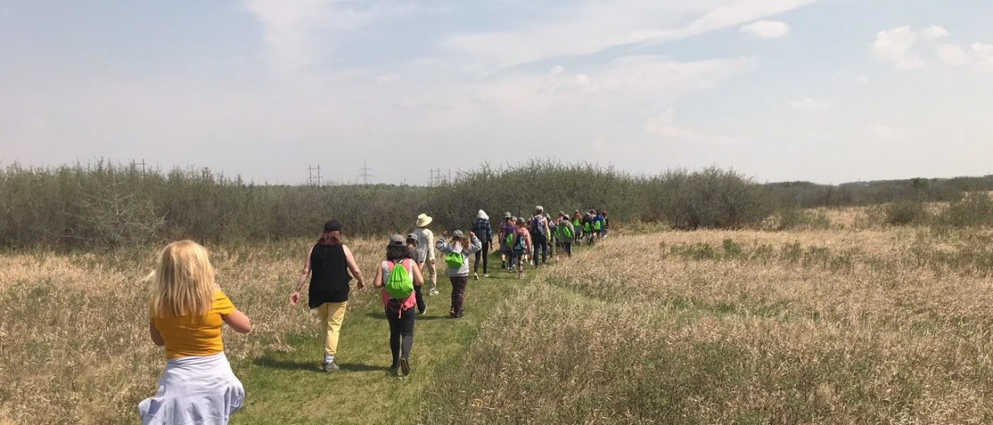 Students from St. Mary's School in Saskatoon, Sask., head out to explore Chappell Marsh as part of their Finning-sponsored field trip.