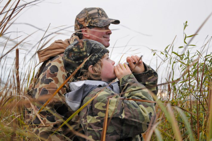 Hunter/mentor and his young charge during a 2014 Manitoba mentored hunt.
