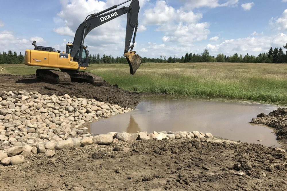 Restored spillway at an Ontario DUC wetland project.