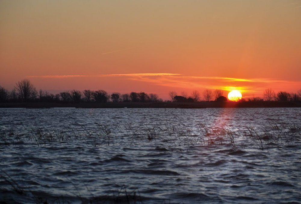 The morning sun rises over wetlands near St. Luke's Club on the eastern shores of Lake St. Clair. The property was placed on the open market in 2013.
