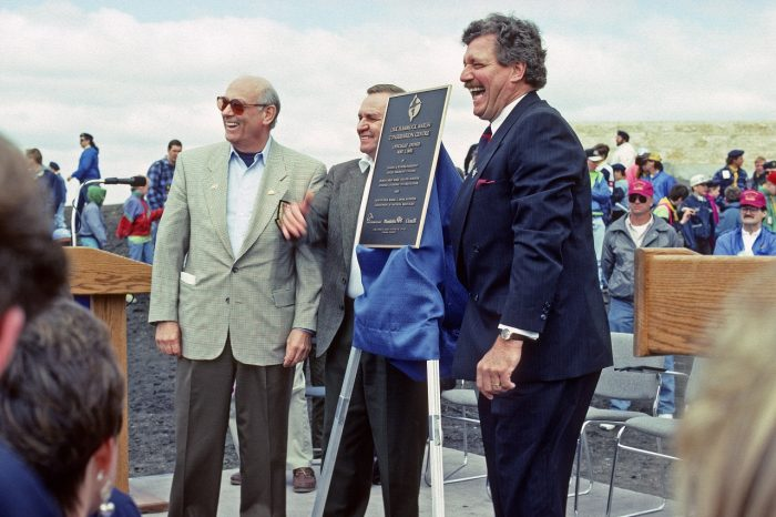 (L-R) DUC President Claude Wilson, Minister of Natural Resources Harry Enns, and Felix Holtmann, M.P. for Portage-Interlake at the official opening of the Oak Hammock Marsh Interpretive Centre on May 1, 1993.