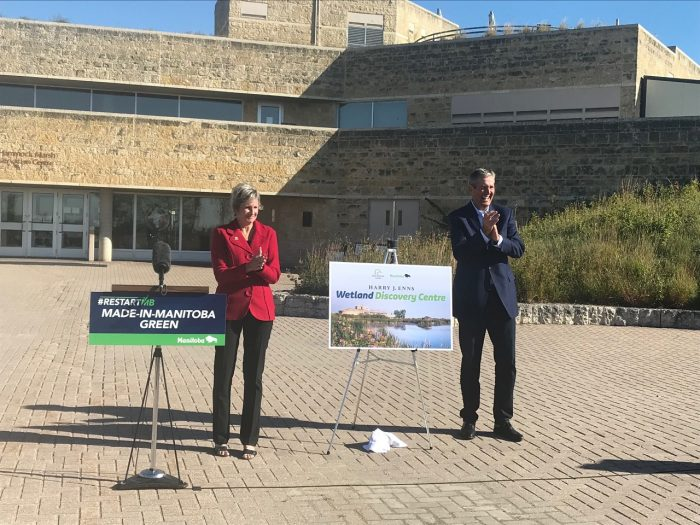 Karla Guyn, DUC CEO, and Premier Brian Pallister at the announcement on September 10, 2020.