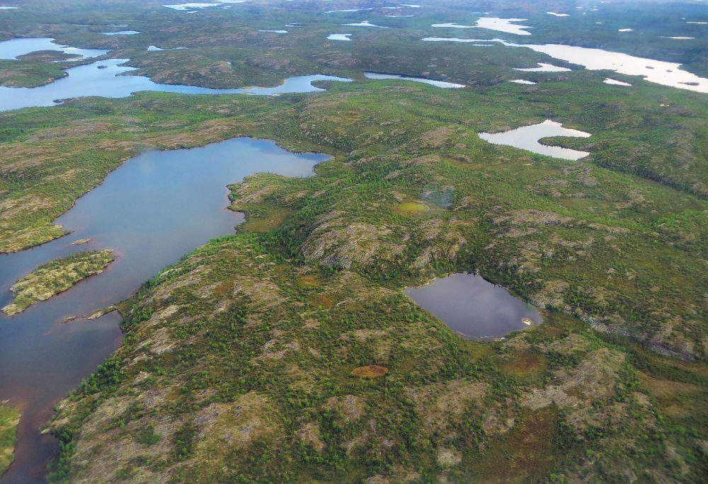 Aerial view of the proposed Thaidene Nëné National Park Reserve, located near Łutsel K'e, N.W.T