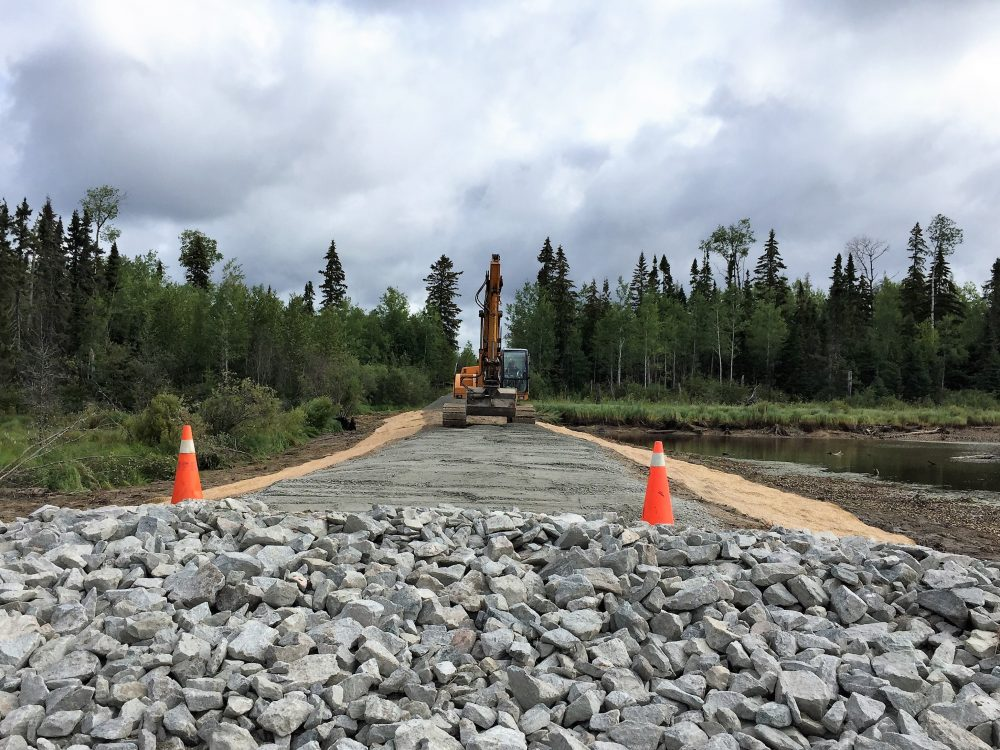 The earthen dyke and spillway at Townend Creek that manages water levels were rebuilt and refurbished by Nadeau Haulage & Excavation of Kapuskasing.