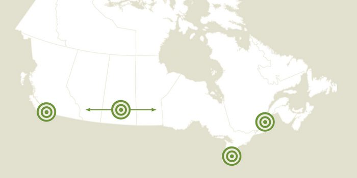 Map showing locations of DUC projects recently funded thanks to duck stamp sales.