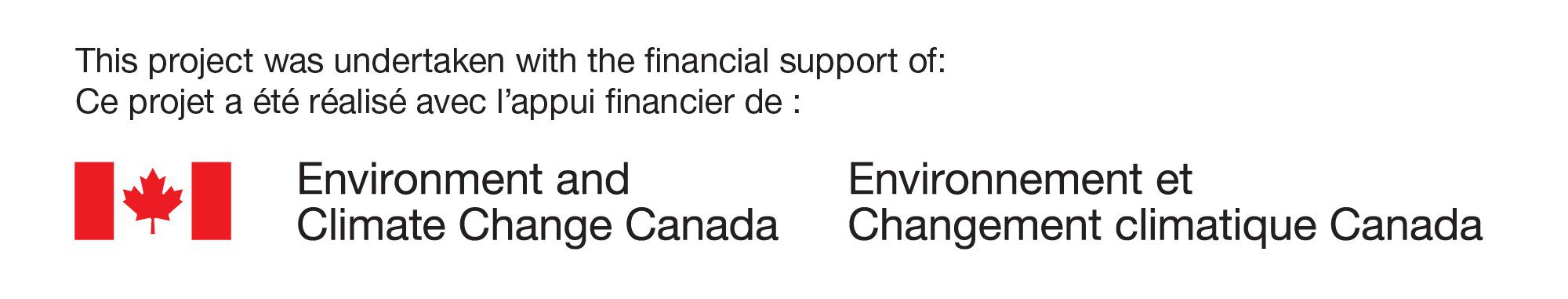 This project was undertaken with the financial support: Environment and Climate Change Canada