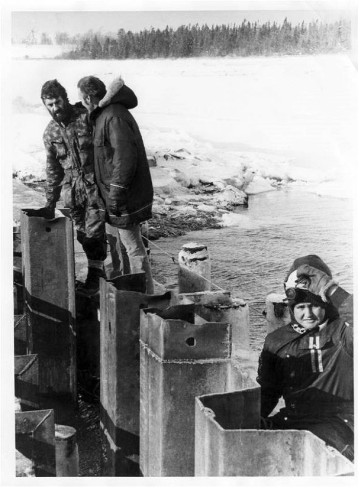 Working on the original water control structure in the 1980s, when DUC took sole management of Fullerton's Marsh as a freshwater marsh.