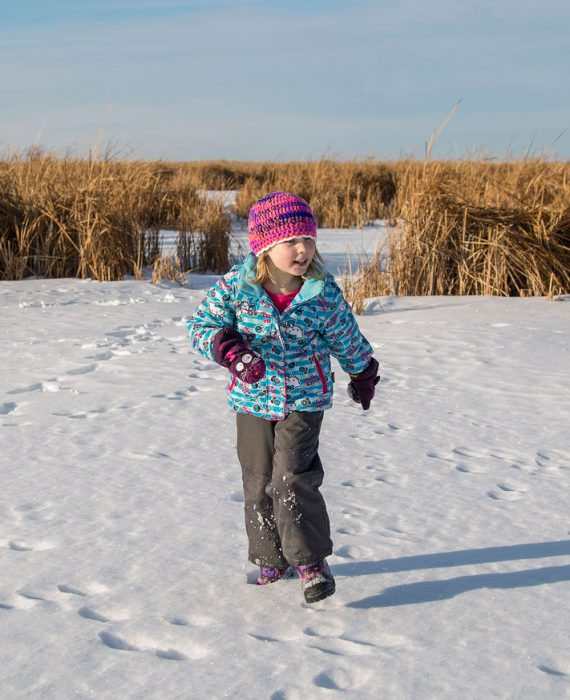 Playing in the snow at Oak Hammock Marsh