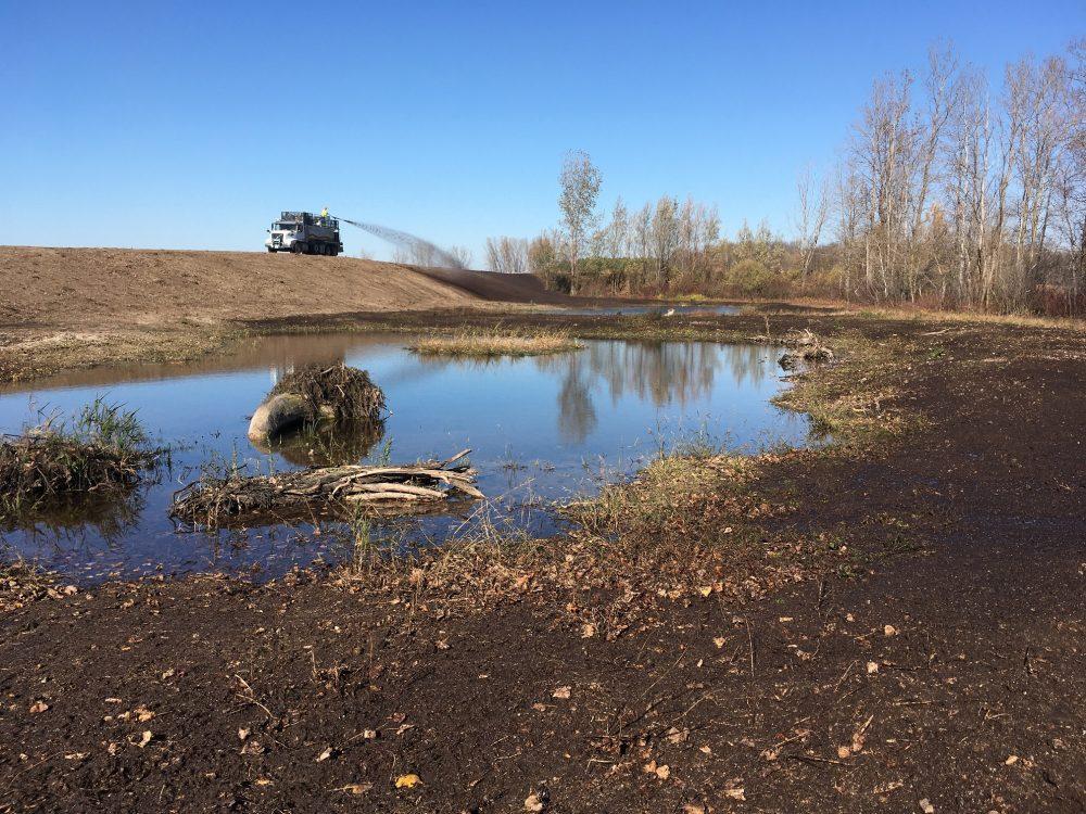 Hydroseeding with native plants at the new wetland habitat