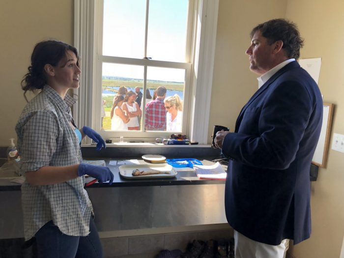 After the presentation, Minister LeBlanc was treated to a tour of the Research Centre, which included an alewife dissection demonstration in the centre's main lab, by Acadia University biology student Sarah Stewart.