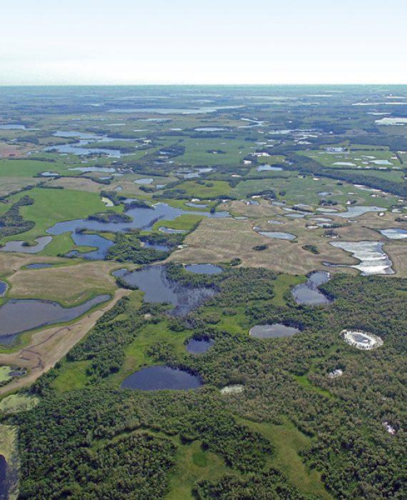Aerial photo of Saskatchewan prairie potholes