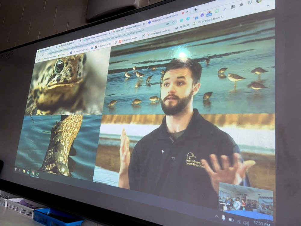Alexandre Haché delivers an engaging virtual presentation on wetlands to a classroom of Grade 4 students in P.E.I. DUC is harnessing technology to deliver wetland education to more students.