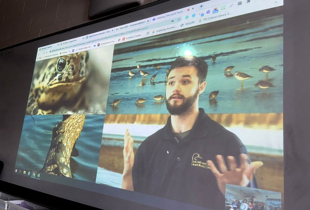 AlexandreHaché delivers an engaging virtual presentation on wetlands to a classroom of Grade 4 students in P.E.I. DUC is harnessing technology to deliver wetland education to more students.