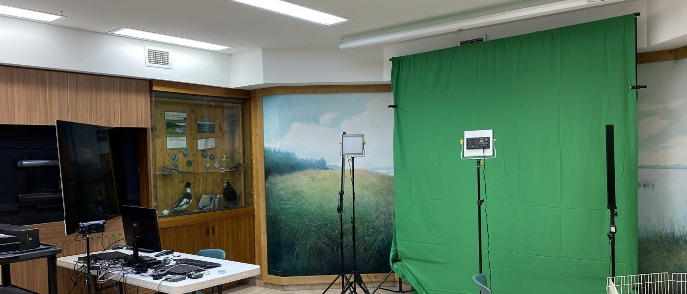 Green screen set up in the virtual