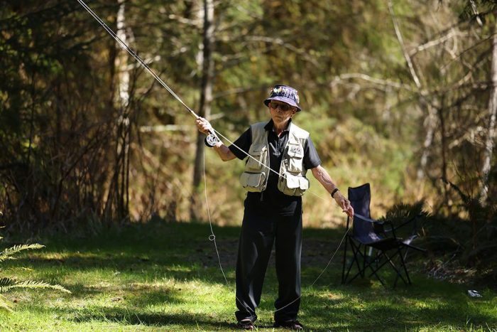 Stocky Edwards enjoys fly fishing at a Comox Valley marsh in B.C., April 2021.