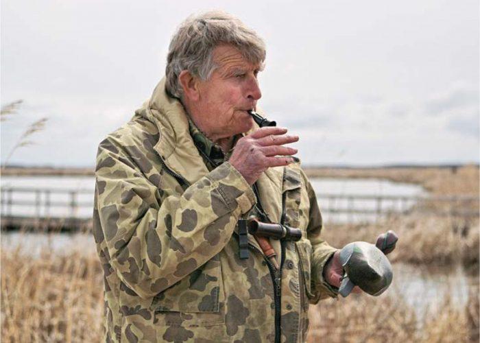 Dr. Frank Baldwin teaching waterfowl calling techniques at Oak Hammock Marsh.