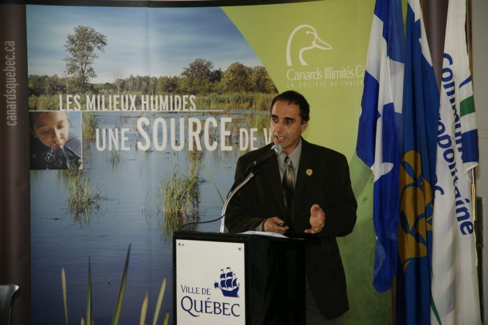 Bernard Filion makes one of many presentations on the value of Quebec wetlands and to urge support for their conservation.