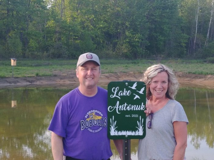 Scott and Linda Dunn at the wetland at their family farm on the shores of Lake Erie.