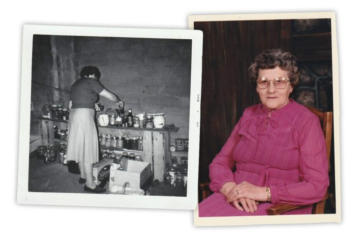 Left: Elsie was a prolific and resourceful home canner. Right: a photo of Elsie in her later years.