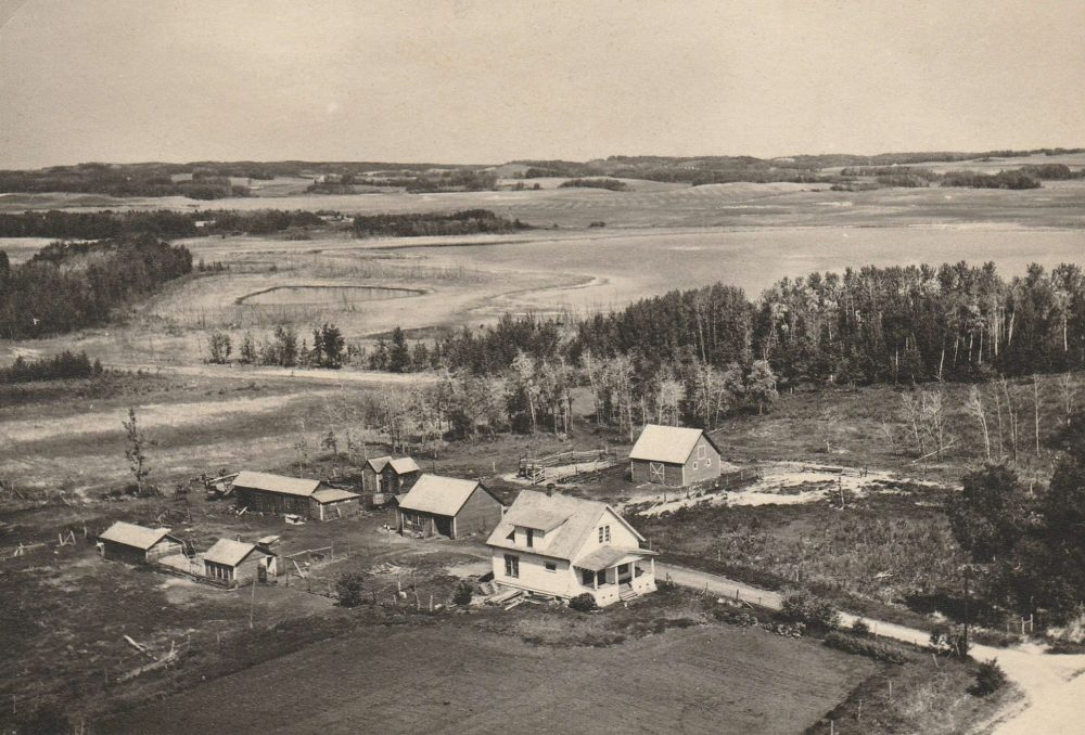 Elsie's Place, a 200-acre (80-hectare) plot of pasture, hillocks and prairie potholes near Bashaw, Alta. As it appeared prior to 1963 when a large fire levelled about a third of the yard.