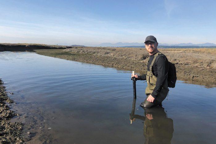DUC conservation specialist Matt Christensen, immersed in sea-level rise research in B.C.'s Fraser River Delta.
