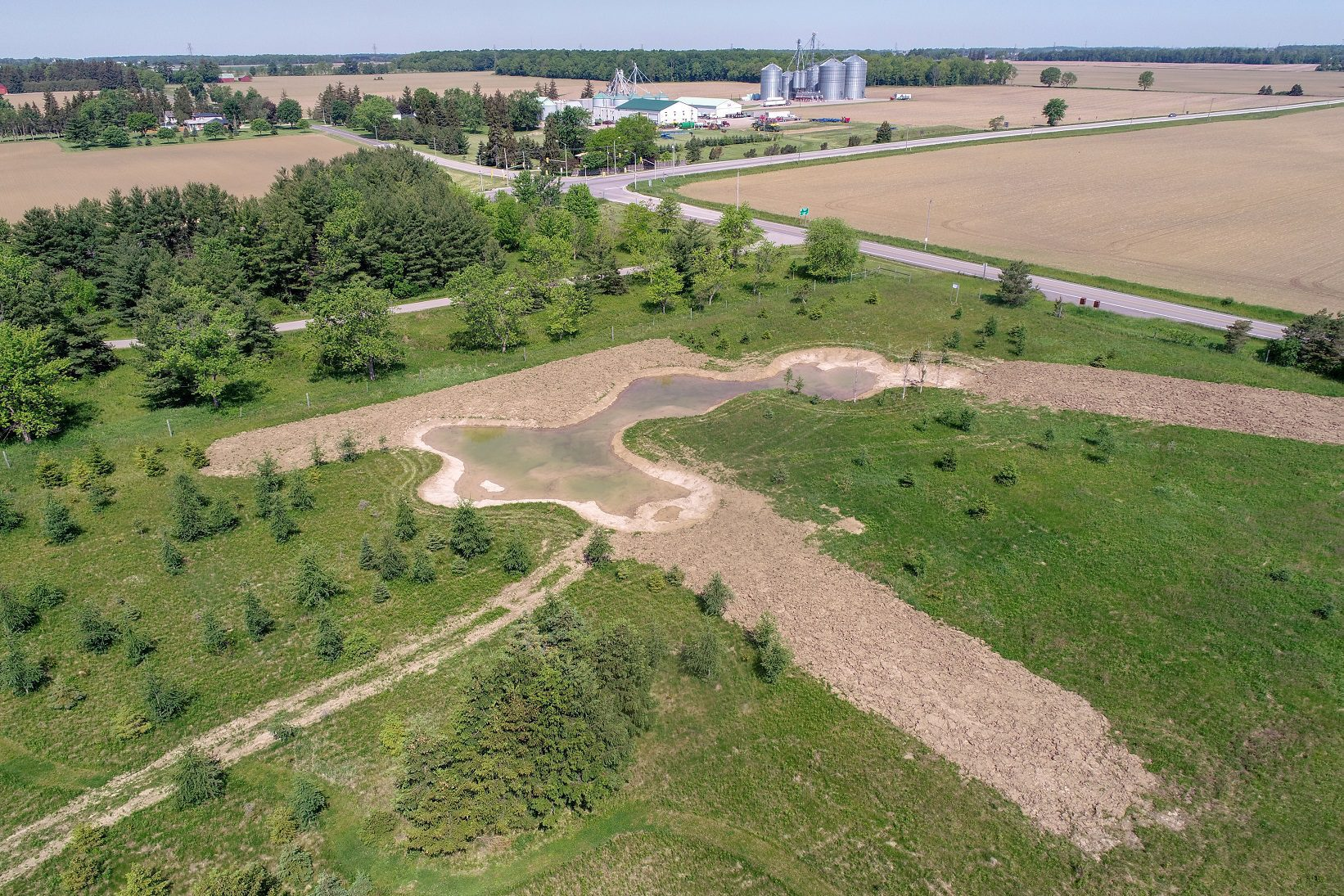 New small wetland on Kettle Creek Conservation Authority naturalized field